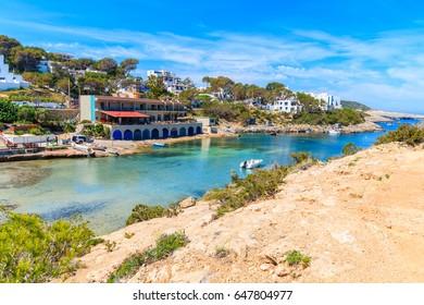 View of small port in Cala Portinatx bay, Ibiza island, Spain