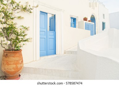 view of small street with traditional Greek white buildings with blue doors and windows and flower pot at foreground on spring day, Oia, Santorini, Greece