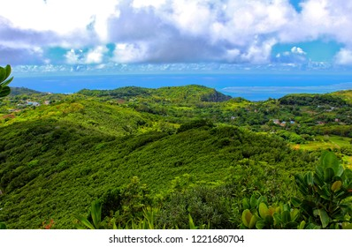 View of small villages and the coast from top of Mount Limon (Mt. Limon) in Rodrigues island