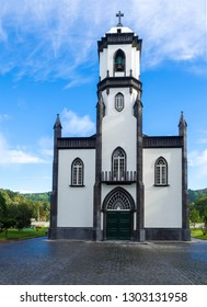 View of small white and gray church of Sao Nicolau at the village of Sete Cidades on the island of Sao Miguel, Azores, Portugal