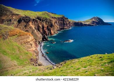 view of the small wild beach located at Ponta de Sao Lourenco, Madeira, Portugal
