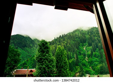 View from a small window at Ayder Plateau of Rize ,Turkey.