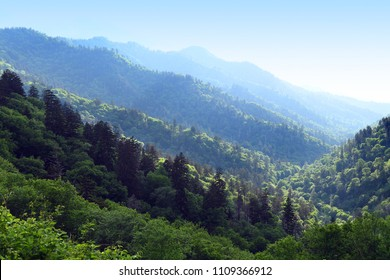 View of the Smoky Montains near Gatlinbutg in late afternoon