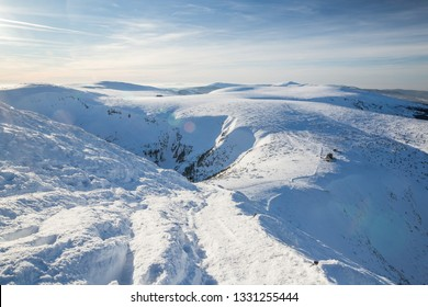 View from the Snezka, highest mountain of the Czech Republic in winter