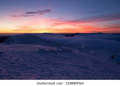 View from the Snezka, highest mountain of the Czech Republic at evening