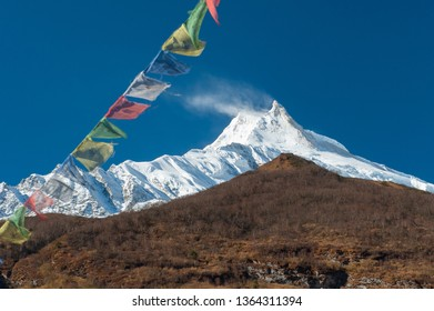 View of snow covered Mount Manaslu (8 156 meters) with prayer flags and forest in the foreground in Himalayas, sunny day at Manaslu Glacier in Gorkha District in northern-central Nepal