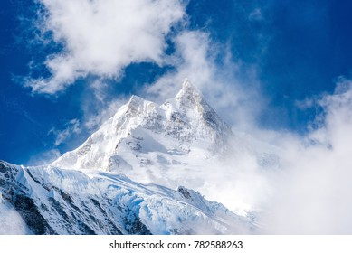 View of snow covered Mount Manaslu and surrounding mountains Himalayas, Nepal.