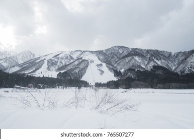 View of snow and mountain in Nagano, Japan