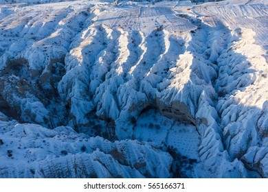view of snow winter with blue sky and cloud Mountain in Goreme Turkey