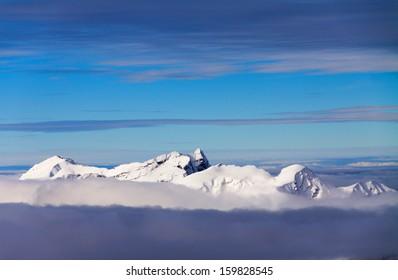 View of snow-capped mountains, Avoriaz, Portes du Soleil