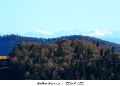 view of the snow-covered Alps from the Ballon d'Alsace, Vosges, France