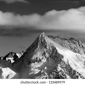 View of snow-covered mountains of a valley of Zillertal - Mayrhofen, Austria (black and white)