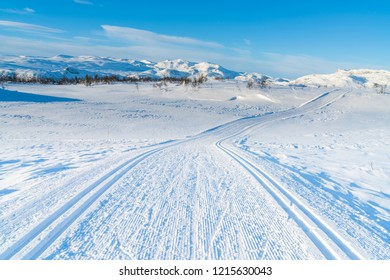 View of snowy landscape and cross country ski track in Beitostolen. Winter in Norway