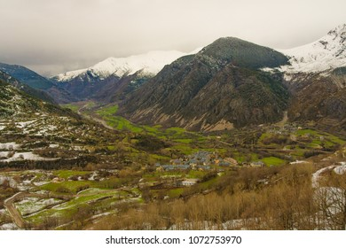 View of snowy mountains in Vall de boi,  Lleida, Catalonia, Spain