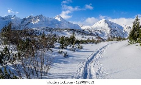 The view of snowy path way in High Tatras Mountains. Slovakia