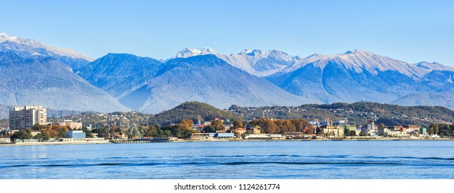 View from Sochi from sea side, mountain of Caucasian ridge on the background