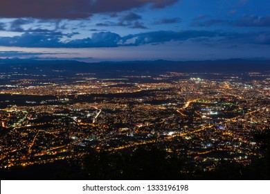 View to the Sofia city at dusk. View from the Kopitoto Hill, Vitosha Mountain, Bulgaria.