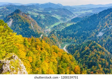 View from Sokolica peak in Pieniny mountains, Poland