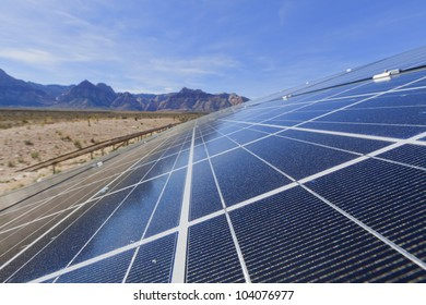 View of solar panels in the Mojave Desert.