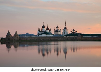 View of Solovetsky monastery in summer sunrise , Russia
