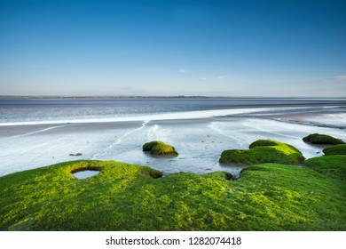 View of the Solway Firth in Northern England between Burgh By Sands and Port Carlisle, the far coast is Southern Scotland,