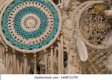 View of some beautiful Dreamcatcher hanging from a ceiling at the Love Anchor Market in Canggu, Bali - Indonesia