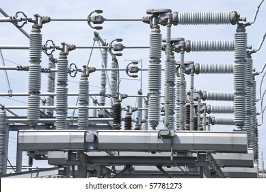 A view of some electrical power equipment in a power plant.