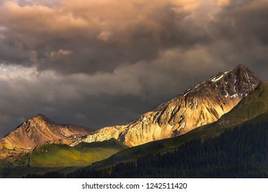 View of some mountain peaks during a thunderstorm in Prättigau. Prättigau is a region of the canton Graubünden in the Swiss Alps of Switzerland.