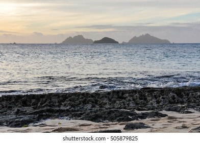 View of some nearby islands from Sunset Beach in Fiji