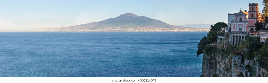 View from Sorrento town on Naples coast and Mount Vesuvius. Sea coastline panorama (Italy).