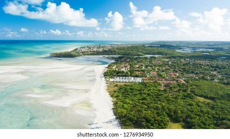View of Sossego's Beach at Itamaracá's Island, in Pernambuco, Brazil.