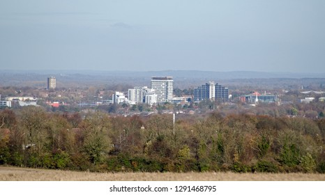 View from the south across the town centre of Basingstoke in Hampshire on a clear Winter day.  Most of the tall buildings have now been converted from offices to apartments.
