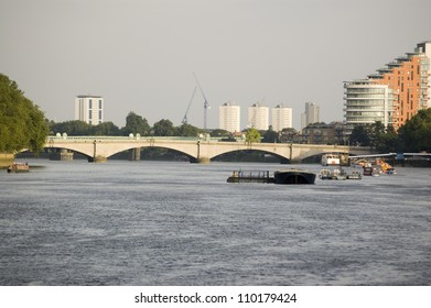 View from the south bank of the River Thames of Putney Bridge, West London.