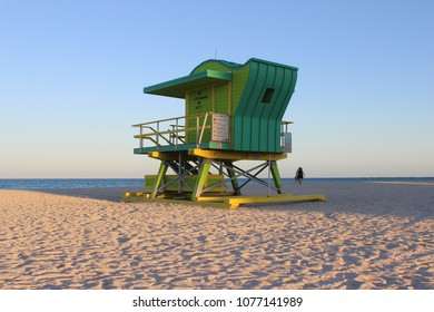 View of South Beach Lifeguard Tower on 4th Street at Sunset in Miami