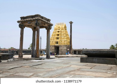 View of South East courtyard, Chennakeshava temple complex, Belur, Karnataka. The lamp post and East Gopuram is clearly seen.