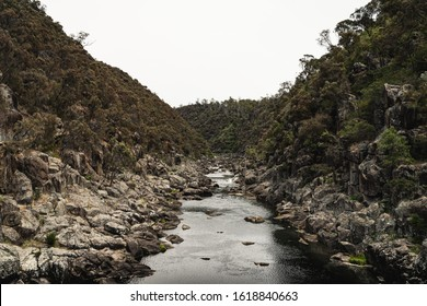The view up the South Esk River from the Alexandra Suspension Bridge at Cataract Gorge, Launceston Tasmania.