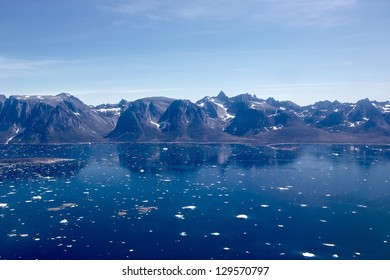 View of South Greenland Icefjord as seen from a helicopter