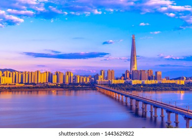 View of South Korea with Lotte world mall at Jamsil, South Korea skyline of Seoul, South Korea.