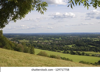 View South over countryside from Box Hill on the North Downs at Dorking. Surrey. England
