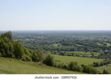 View south over the countryside from Box Hill near Dorking. Surrey. England. With heat haze.