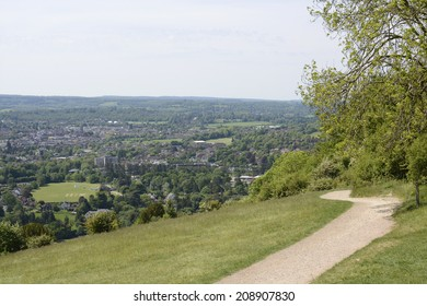 View south over Dorking and the countryside from Box Hill. Surrey. England. With heat haze.
