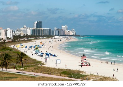 The view of the south tip of Miami Beach during Winter time (Florida).