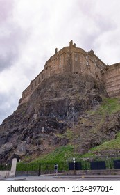View from the southeast of the Royal Palace and Half Moon Battery of Edinburgh Castle, popular tourist attraction and landmark of Edinburgh,  capital city of Scotland, UK