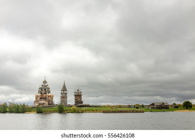 View of southern part of Kizhi museum island from waters of Onega lake, Karelia, Russian north-west