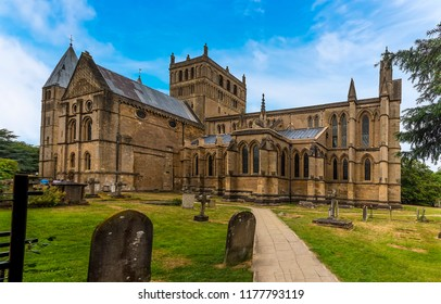 A view of the southern side of Southwell Minster, Nottinghamshire, UK in summertime