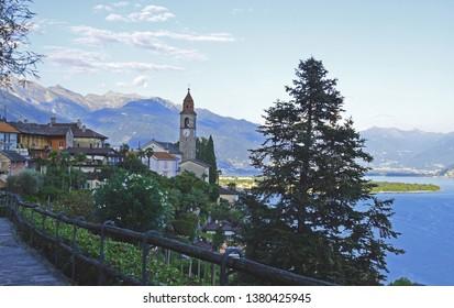 A view of a Southern Swiss Italian city - Ronco Sopra Ascona, Ticino, Switzerland