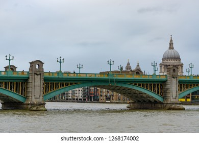 View of Southwark Bridge and St Paul Cathedral in London, UK