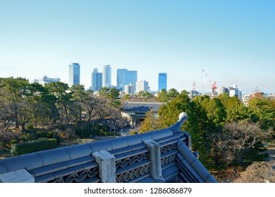 View from Southwest corner tower at Nagoya castle to Nagoya city buildings