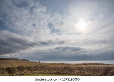 View southwest to Rubjerg Knude in backlight, Jutland near Loenstrup, Denmark