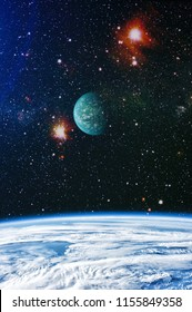 A view of space from the earth. Colorful deep space. Universe concept background. Elements of this image furnished by NASA